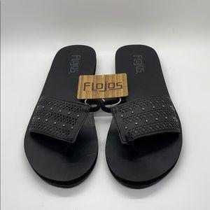 New Flojos Black Strap Slippers